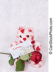 Love Bear with hearts rose and card love
