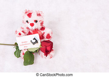 Love Bear with hearts rose and card happy valentine's day
