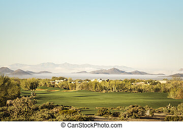 Scottsdale, Phoenix area golf course with dramatic unusual...