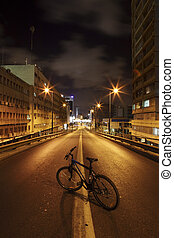 Bicycle on Dark Road - Dark street in Tel Aviv, Israel