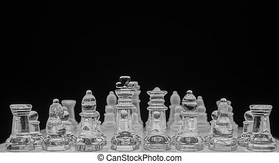 Chess game, black and white