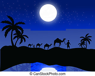 silhouette view of camels and human in moonlight -...