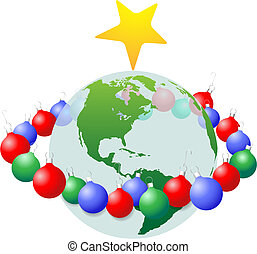 Christmas Decoration Ornaments ring around Earth