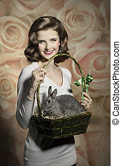 easter girl with rabbit