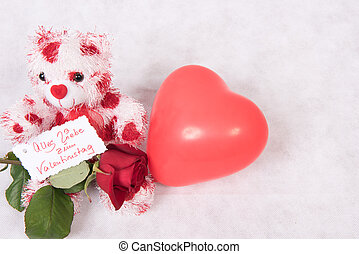 Love Bear with hearts rose and card happy valentine's day german