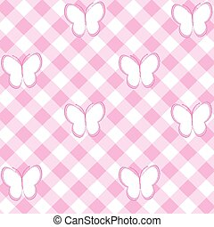 Baby girl background with tablecloth and butterflies
