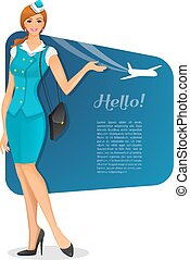 Girl in stewardess uniform - Vector illustration of Girl in...