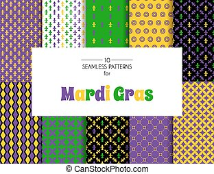 Mardi Gras pattern backgrounds - Vector illustration of...