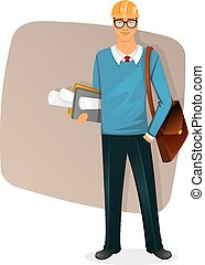 Architect man character image - Vector illustration of...