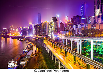 Chongqing, China Riverside Cityscape - Chongqing, China...