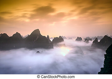 Karst Mountains of Xingping, China.