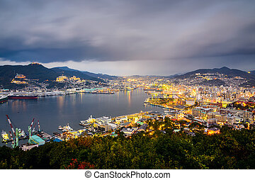 Nagasaki Japan Cityscape - Nagasaki, Japan city skyline at...
