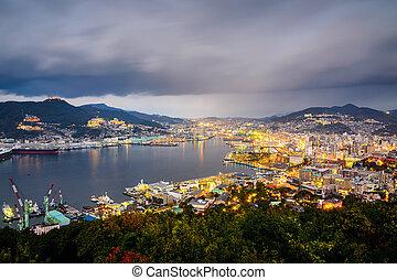 Nagasaki Japan Cityscape - Nagasaki, Japan city skyline at...