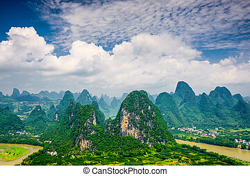 Karst mountains - Karst mountain landscape in Xingping,...