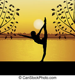 human doing yoga with river and sun background - human doing...