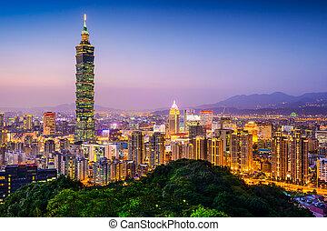 Taipei Skyline - Taipei, Taiwan city skyline at twilight.