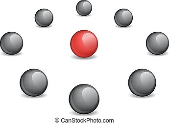 Red sphere surrounded black, the vector image
