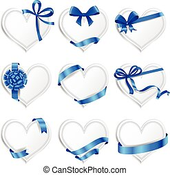 Set of beautiful heart-shaped cards with blue gift bows.