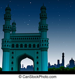 view of charminar, hyderabad, india, night time - view of...
