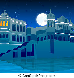 view of palace on full moon, lake side - view of palace on...