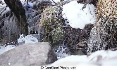 Mountain stream - Ice and snow on either side mountain...
