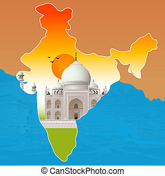 Taj Mahal, agra, outline map of india