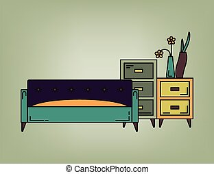 Sofa and drawers in living room