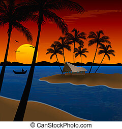 landscape of beach with coconut trees, hut - landscape of...