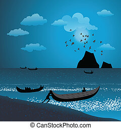 silhouette view of fisherman pushing boat into the sea