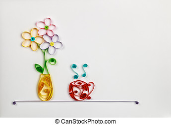 colorful flowers in a vase and a hot cup made of quilling -...
