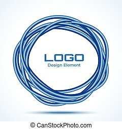 Blue Hand Drawn Ware Circle, vector logo design element