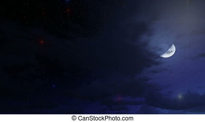 Magical night sky - Night sky with half moon, stars and...