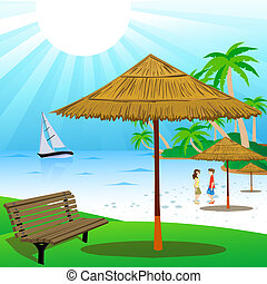 couple at beach with front view of bench and shed