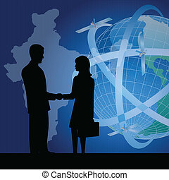 silhouette of business people showing business agreement