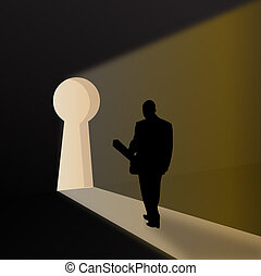 silhouette of a business man expressing key to sucess