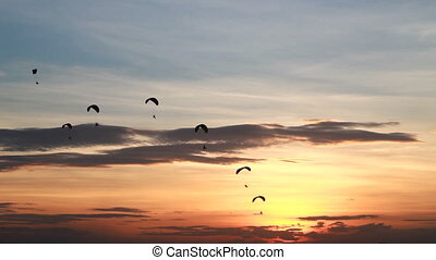 Group of parachute or paramotor - Set collection montage,...