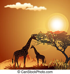 silhouette of giraffe, with jungle landscape and sun -...