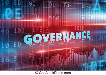 Governance concept with blue text and red background