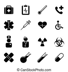 Set of icons - medicine and health - Collection of simple...