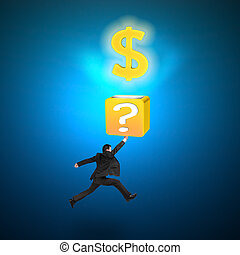 Man hitting question mark box opening glowing golden dollar...