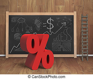 Red percentage sign with business concept doodles on...