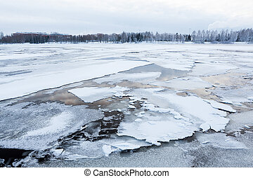 Thin ice at lake - Thin ice in lake at spring