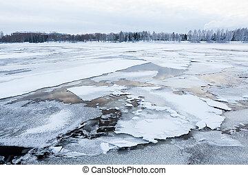 Thin ice at lake - Thin ice in lake at spring