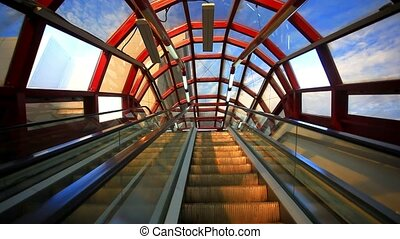 Glass roof structure in metro Moscow escalator Russia HD...
