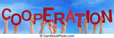Many People Hands Holding Red Word Cooperation Blue Sky -...