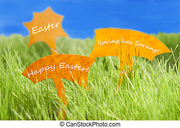 Three Labels With Happy Easter And Blue Sky - Three Labels...