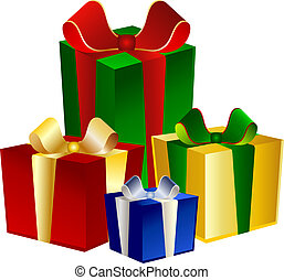 4 colorful Presents on blue background