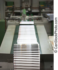 Print shop - Finishing line. Post press finishing line...