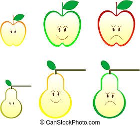 Apple and pear icons