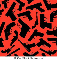 Weapons silhouettes - Weapon vector seamless pattern. Vector...